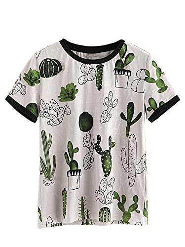 Verdusa Women's Summer Short Sleeve Cute Cactus Print T-Shirt Tops Multi#1 M