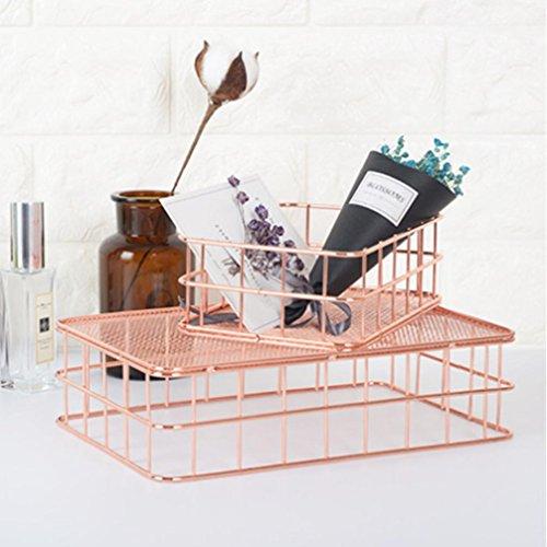 WensLTD Luxury Rose Gold Storage Basket Mesh Crate Vintage Kitchen Office Storage Desk Organiser (Large - 24.5166.5 cm)