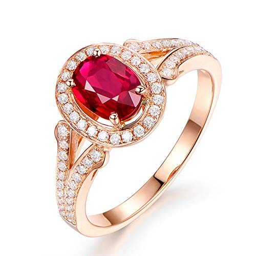 Adisaer-Women's Ring Rose Gold 18ct Ruby 1.25ct Red Oval ()