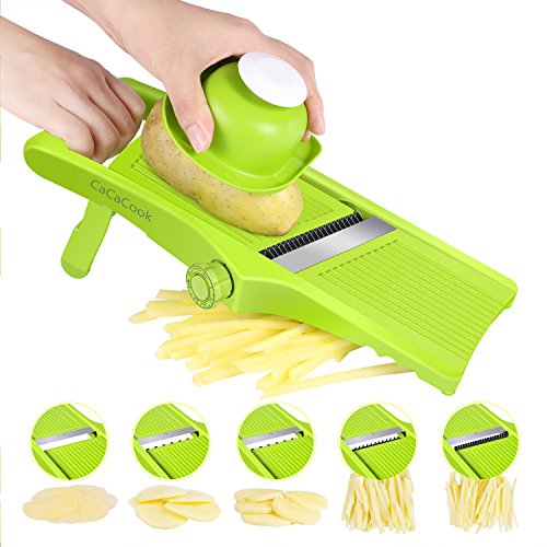 Potato Slicer (Mandoline Slicer Adjustable Kitchen Food Mandolin Vegetable Julienne Slicer for Fruits and Vegetables From Paper-Thin to 6mm with 5 Stainless Steel Blades by CaCaCook - Green)