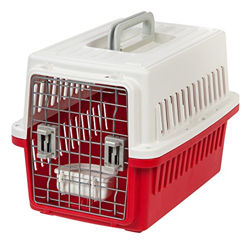 IRIS USA Small Deluxe Pet Travel Carrier, Red, 21-Inch