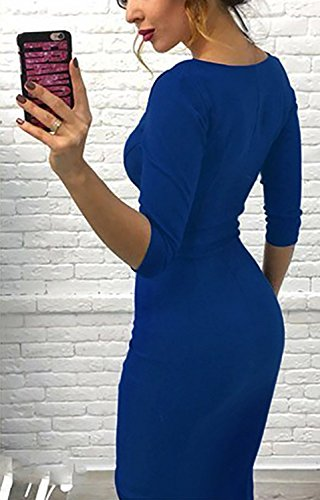 Fte Cocktail lgant Casual pour Bleu de Soire Sexy Minetom 4 Manche Midi t Robe Zipe Robe 3 Dress Femme Printemps Robe Bodycon xwR06FZ