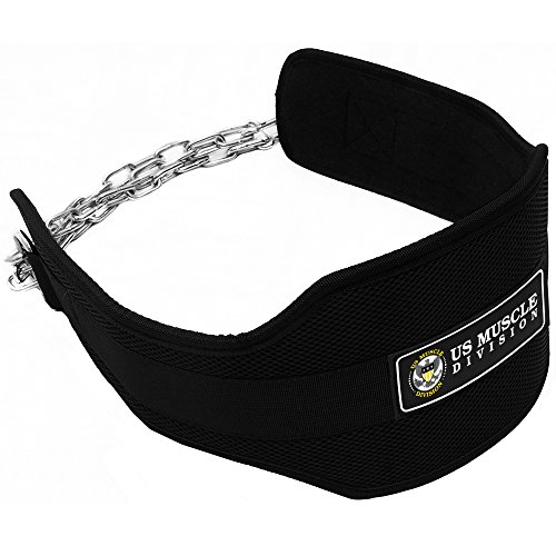 Dipping Belt US Muscle Division Pro Bodybuilding Dip Belt With Chain For Weight Lifting, Tricep Dips, Chins + Weighted Pull Ups Strength Tested Up To 100lbs