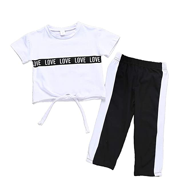 WARMSHOP Pajamas for Toddler Girl 3PC Long Sleeve Letter Love Print Tops Romper+Stripes Pants+Cap Sleepwear Outfits
