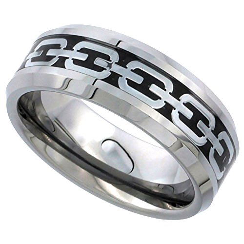 Tungsten Wedding Silver Beveled Comfort