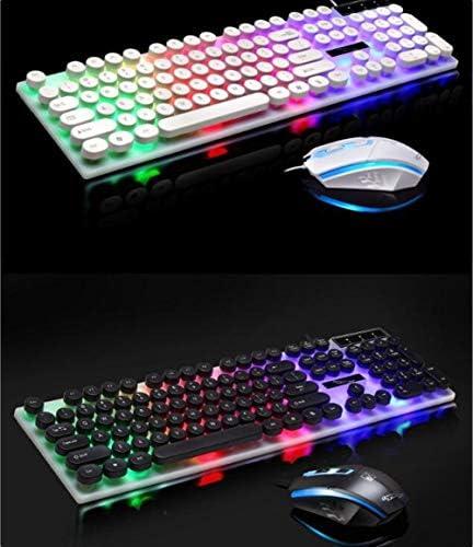 LANYAOWEN キーボードとマウスセット、レトロなラウンド鍵、ノートブックライトラウンドボタンのキーボードセット (色 : ブラック)
