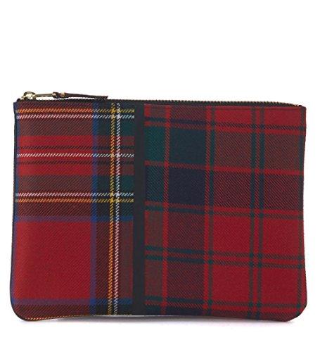 Comme Des Garçons Wallet Men's Comme Des Garçons Wallet In Red Tartan Patchwork Red