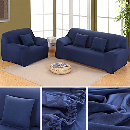 ANJUREN Polyester Spandex Fabric 1-Piece Stretch Slipcover For Chair Loveseat Sofa Without Pillow (Love seat, Navy blue) Right Corner Chair