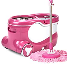 360° Rolling Spinning Mop and Bucket Set Cleaning Kit+2 Skins Towel Mop Head,A