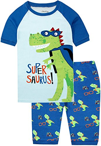 Fitted Short Pjs (Dinosaur Pajamas Set 2 Piece Shorts Set for Kids Children Summer Cotton Boys Clothes Size 7)