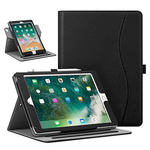 "Fintie Case for iPad 9.7"" 2018/2017, iPad Air 2 / iPad Air - [Corner Protection] 360 Degree Rotating Smart Stand Cover with Pocket, Pencil Holder, Auto Sleep/Wake for iPad 6th / 5th Gen, Black"