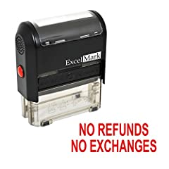 Ensure efficient communication and provide clear instructions with the use of this NO REFUNDS NO EXCHANGES self-inking rubber stamp. This stamp is ideal for rapid, repetitive stamping because the die automatically re-inks itself by rotating i...