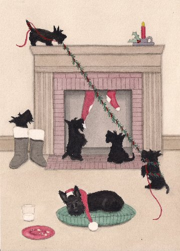 12 Christmas Cards: Scottish Terrier family guards fireplace / Lynch folk art by Lynch