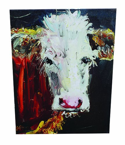 Creative Co-op DE1951 White Face Cow Canvas Wall Dcor