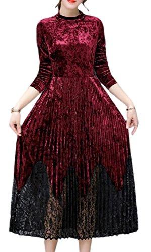 Fit Casuale Vino Jaycargogo Linea Velluto Cocktail Una Femminile Party Vestito Sottile Rosso Di Manica Lunga 0dSxdHTq