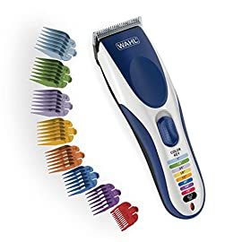 Wahl Color Pro Cordless Rechargeable Hair Clippers, Hair trimmers, 21 pieces Hair Cutting Kit, Color Coded guide combs For Women, Men, Kids and Babies By The Brand used by Professionals. #9649 - 51C6AJVHqpL - Wahl Color Pro Cordless Rechargeable Hair Clipper & Trimmer – Easy Color-Coded Guide Combs – For Men, Women & Children – Model 9649