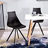 YIMIGA Mid Century Dining Chair (Set of 4) - Modern Home Eames Style Armless Chairs, Black Plastic Seat and Back, Metal Legs for Dining Room, Kitchen, Bedroom, Lounge