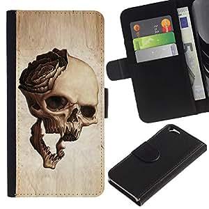 EJOY---La carpeta del tirón la caja de cuero de alta calidad de la PU Caso protector / Apple Iphone 6 / --Cráneo Rose Metal Rock Roll Music Beige