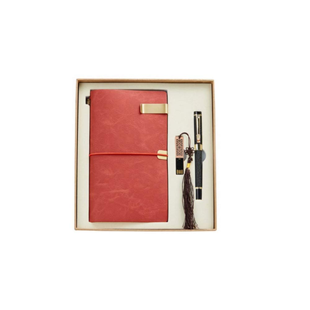 WUZHONGDIAN Notebook Magazine, Retro Simulation Leather Hand Book, Page Divider Gift, Diary Record Note Diary and Plan - Gift Box / 50 Sheets Office Supplies ( Color : Red )