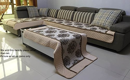 Ofit Chenille Quilted Sectional Sofa Throw Pads Furniture Protector Sold By Piece Rather Thank Set (Beige, 35x94')