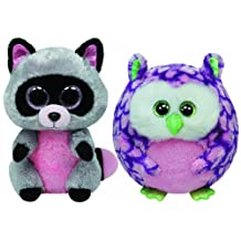Ty Beanie Boos Rocco the Raccoon and Ballz Ozzy the Owl Set of 2 Wild Animals Friends