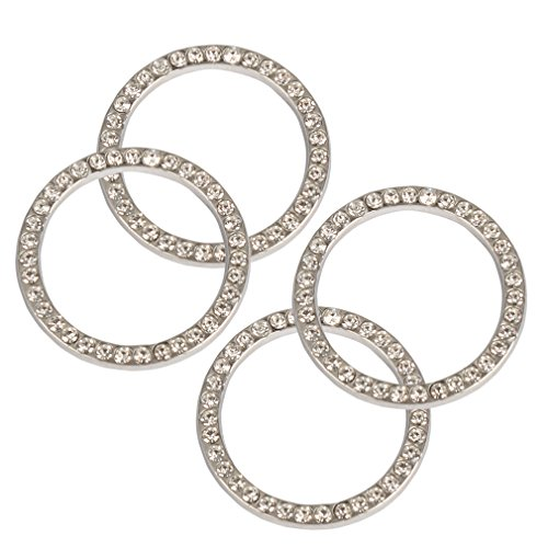 FASOTY Bling Car Decoration (4 Pack) - Car Auto Start Stop Engine Ignition Button Key & Knobs Bling Crystal Rhinestone Ring Decal Emblem Sticker for Car Interior Accessories (White Color)