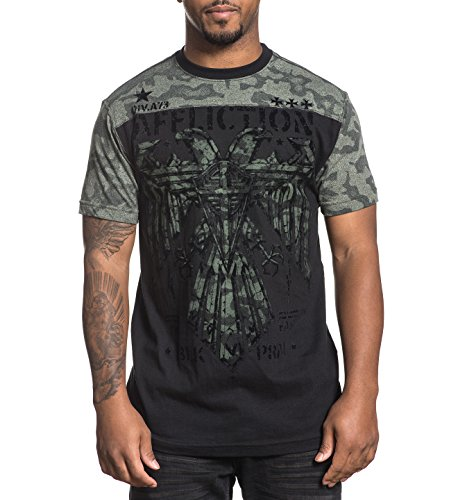 - Affliction Men's Short Sleeve Graphic T-Shirt, Black Lava WASH, Medium