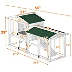 Tangkula Chicken Coop, Wooden Large Outdoor Poultry Cage (Such as Bunny/Rabbit/Hen) with Ventilation Door and Removable Tray & Ramp, 58'' Chicken Rabbit Hutch 16