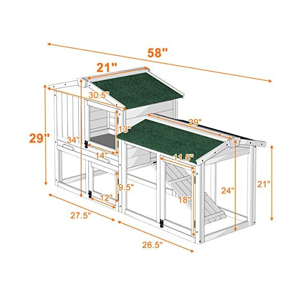 Tangkula Chicken Coop, Wooden Large Outdoor Poultry Cage (Such as Bunny/Rabbit/Hen) with Ventilation Door and Removable Tray & Ramp, 58'' Chicken Rabbit Hutch 6