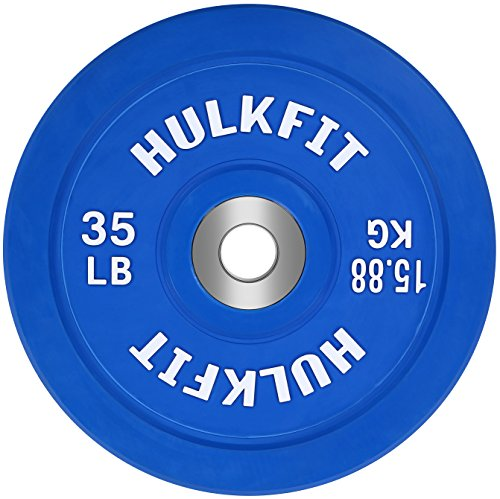 HulkFit Color Coded Olympic 2-Inch Rubber Bumper Plate with Steel Hub for Strength Training, Weightlifting and Crossfit, Single (35 Pounds)