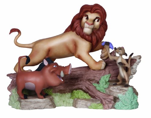 Precious Moments, Disney Showcase Collection, Friendship Means No Worries, Bisque Porcelain Figurine, 141705 (Ceramic Bisque Lion)