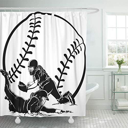 Semtomn Shower Curtain Fielding Girl Softball Slide Catcher Women Female Runner Cleats Shower Curtains Sets with 12 Hooks 72 x 78 Inches Waterproof Polyester Fabric