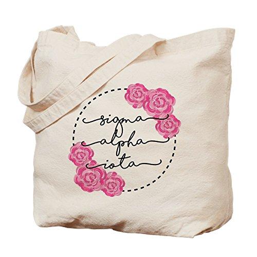 CafePress–Sigma Alpha IOTA Floral–Gamuza de bolsa de lona bolsa, bolsa de la compra Medium caqui