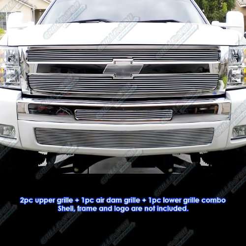 APS Fits 2007-2013 Chevy Silverado 1500 Billet Grille Grill Insert Combo #C61133A ()