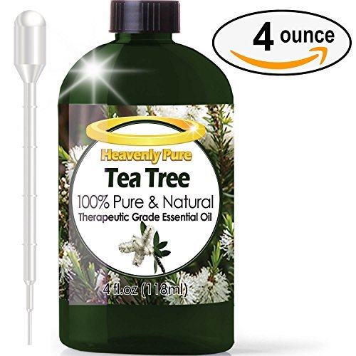 Tea Tree Essential Oil - HUGE 4 OZ/Dropper - 100% Pure Therapeutic Grade - Tea Tree Oil is Great for Aromatherapy, Acne, Hair Nourishment, Sinus & Allergies, Mosquito Repellent & More!