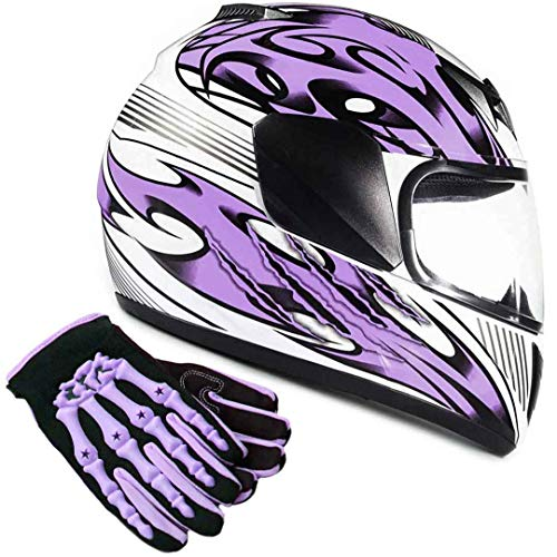Youth Kids Full Face with Shield Helmet & Gloves Combo Motorcycle Street Dirtbike MX - Purple (Large)