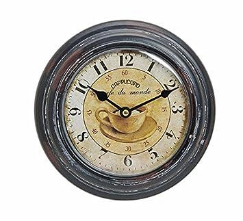 Reloj De Pared De Metal 22 cm - Diseño: France/Francia - Capuchino café Du Monde - Reloj Nostalgie rústico - Estilo: Amazon.es: Hogar