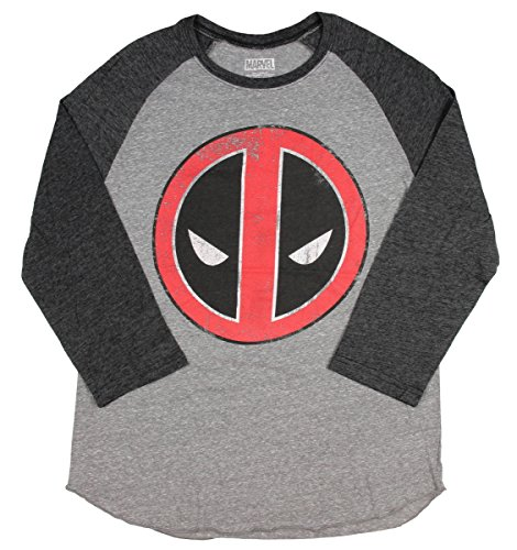 C-Life Marvel Deadpool Mens' Distressed Logo Baseball Raglan T-Shirt (X-Large)