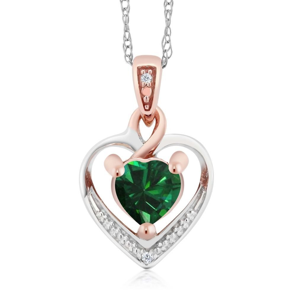 10K White and Rose Gold Green Nano Emerald and Diamond Heart Shape Pendant Necklace (0.35 cttw, With 18 inch Chain)