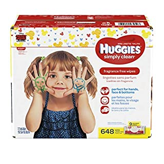 HUGGIES Simply Clean Fragrance-Free Baby Wipes,Soft Packs, 648 Total Wipes,72 Count (Pack of 9)