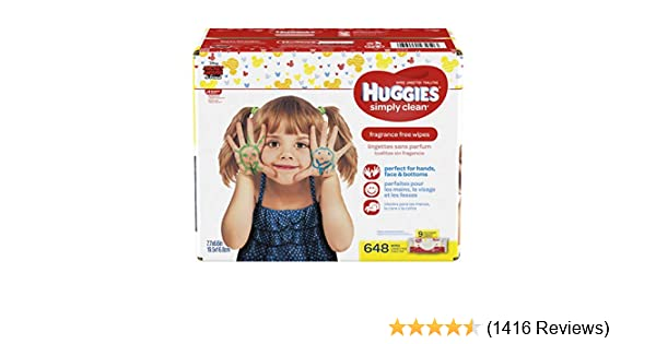 648 Total Wipes HUGGIES Simply Clean Fragrance-Free Baby Wipes Pack of 9 Soft Packs