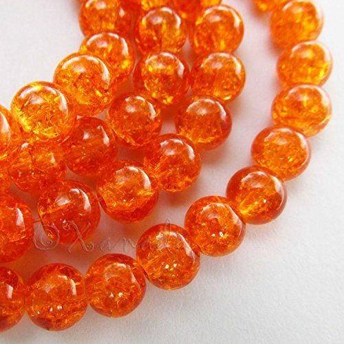Orange Wholesale Round 8mm Crackle Glass Beads G0611-50 Pcs