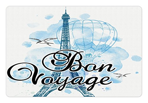 Ambesonne Going Away Party Pet Mat for Food and Water, Eiffel Tower Air Balloon Watercolor Bon Voyage Bird Journey, Rectangle Non-Slip Rubber Mat for Dogs and Cats, Light Blue Black - Voyage Bird Pet