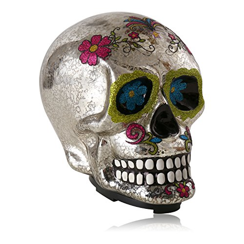 Christmas Table Topper Decoration,Halloween LED Grinning Replica Skull Statue Figure Decoration, Made of Glass (Silver Color) ()