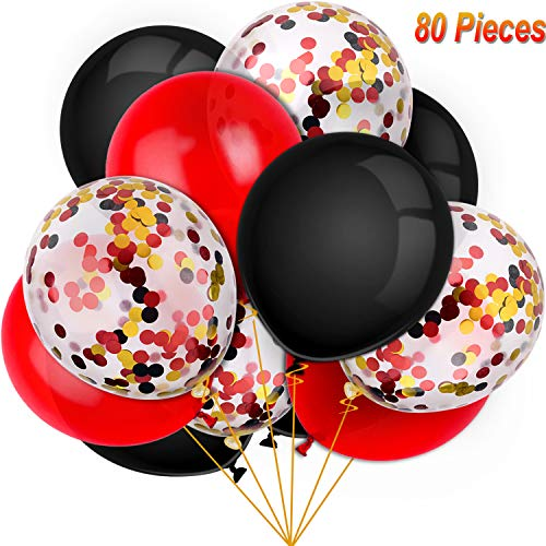 Party Balloon Packages (80 Pieces Lumberjack Party Balloons Set Confetti Balloons Latex Balloons for Birthday Baby Shower Wedding Graduation 4th of July Decorations, 12 Inch (Red,)