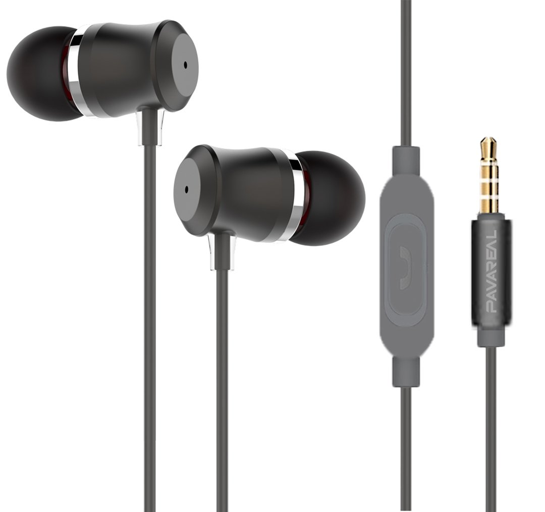 PAVAREAL Wired Earphones Metal Headphones Noise Cancelling Earbuds Bass Stereo Sports Headsets With Stereo Mic Remote Control for IPhone, IPad, IPod, Samsung, Smartphones PC Mp3 Player Etc Gray