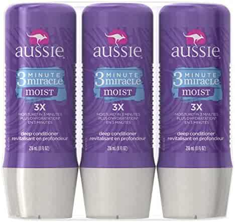 Aussie 3 Minute Miracle Moist Deep Conditioning Treatment, Detangler, 8 Fluid Ounces (Pack of 3)