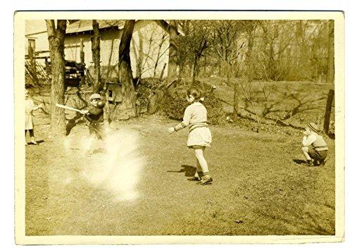 1940's Photograph - Boys and Girls Playing Softball in the Backyard Photograph 1940's