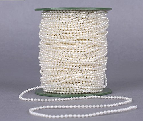 Joinwin® 50M 1 Roll 3mm Cream Pearls Bead Garland Chain Wedding Decoration Center Candle Crafting DIY Favor (Chain Center)