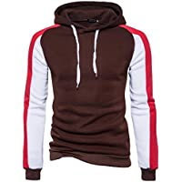 Challyhope Men Fashion Autumn Winter Patchwork Hoodie Sweatshirt Pullover Blouse Tops